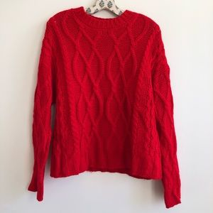 F21 vibrant red cable cord knit sweater